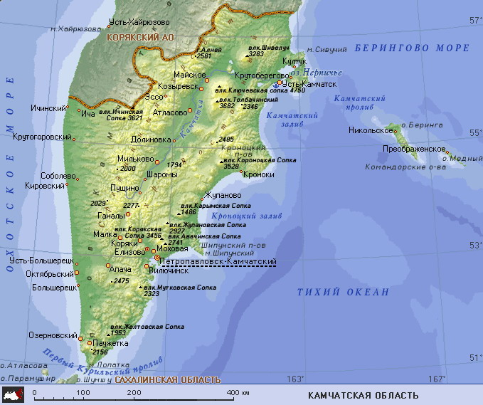Подробная карта камчатской области