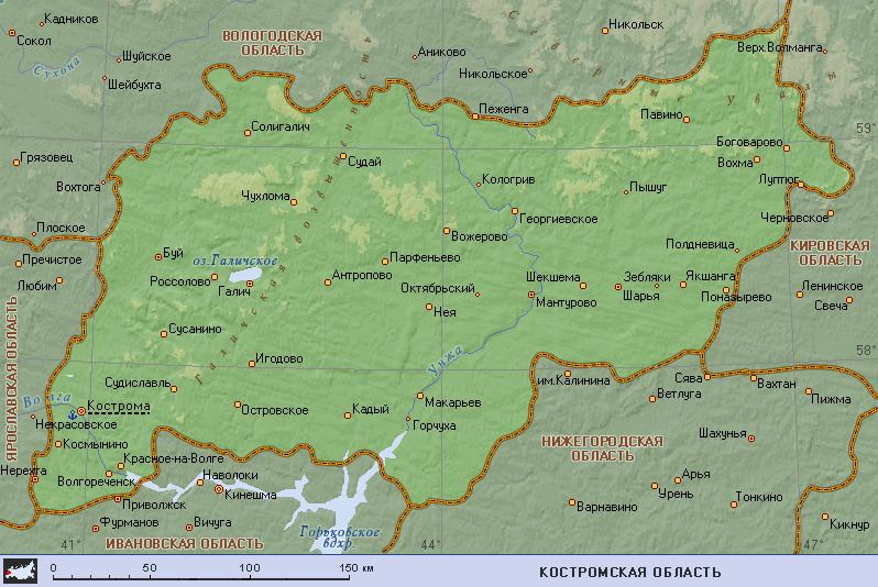 Подробная карта костромской области