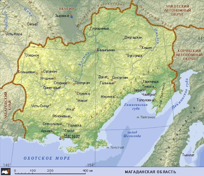 Подробная карта магаданской области