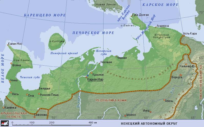 Подробная карта Ненецкого АО