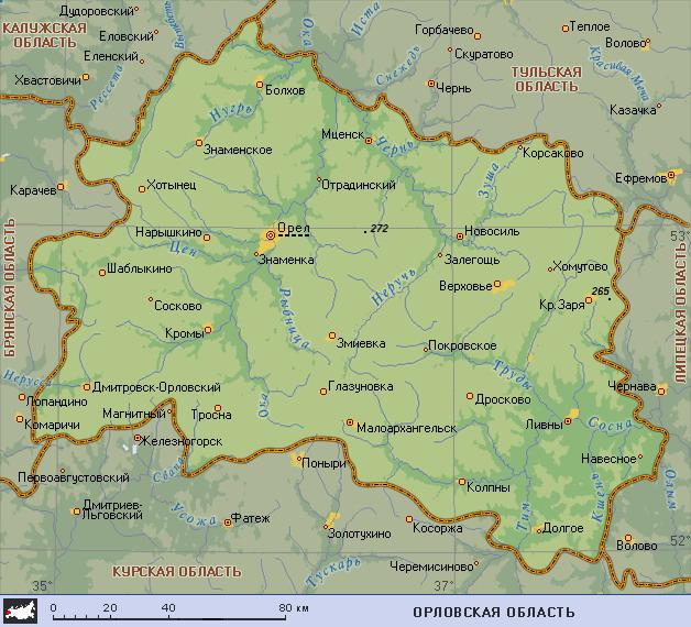 Подробная карта Орловской
