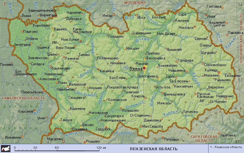 Подробная карта пензенской области