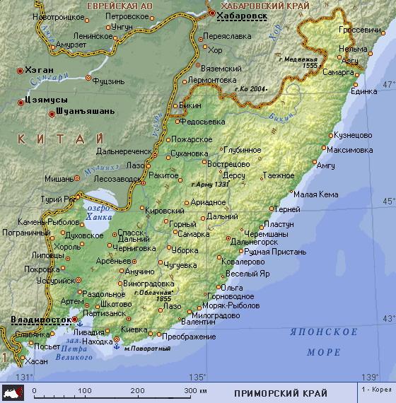 Подробная карта приморского края