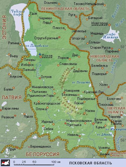 Подробная карта псковской области