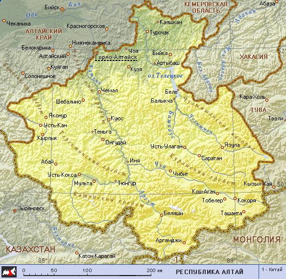 Подробная карта республики