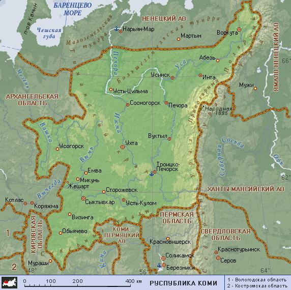 Подробная карта республики коми