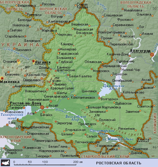 Подробная карта Ростовской