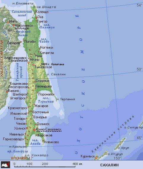 Подробная карта сахалина