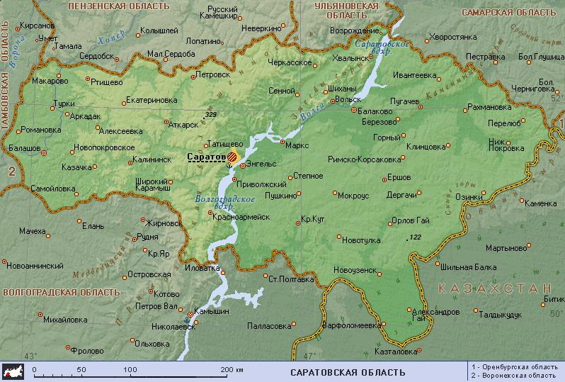 Подробная карта саратовской области