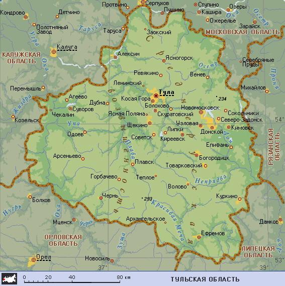 Подробная карта тульской области