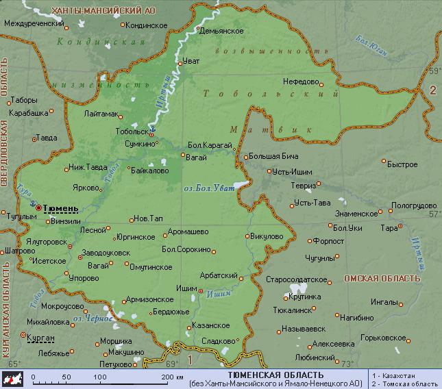 Подробная карта тюменской области