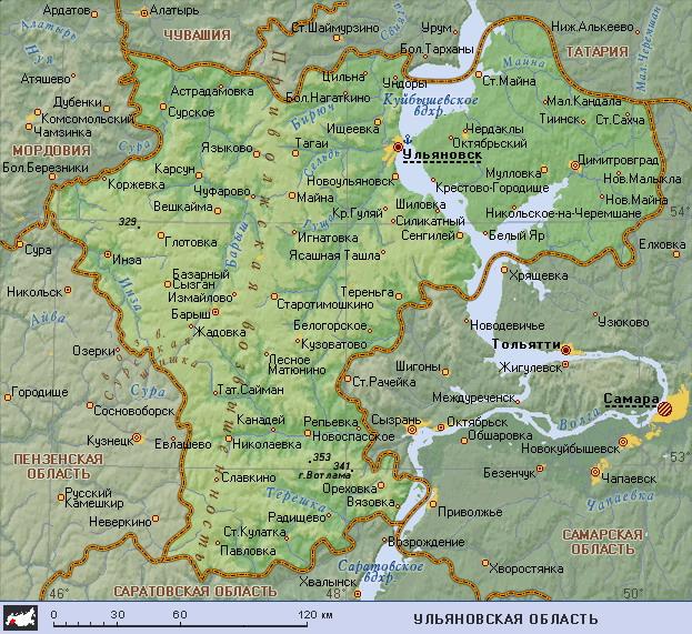Подробная карта Ульяновской