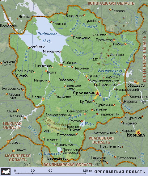 Подробная карта ярославской области