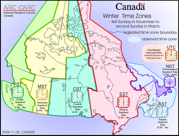 Зимние часовые пояса Канады