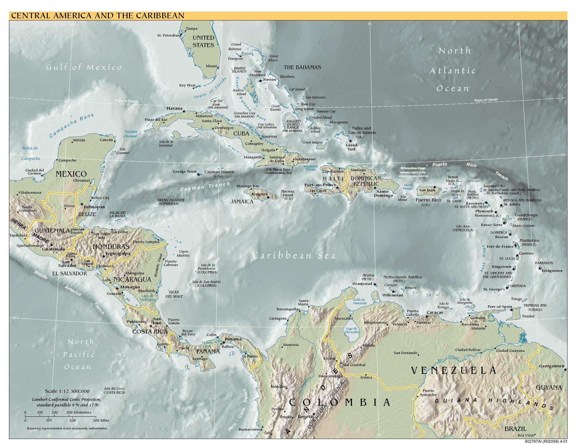 Географическая карта центральной
