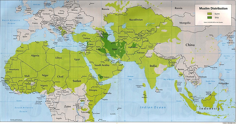 Распространения ислама на карте мира