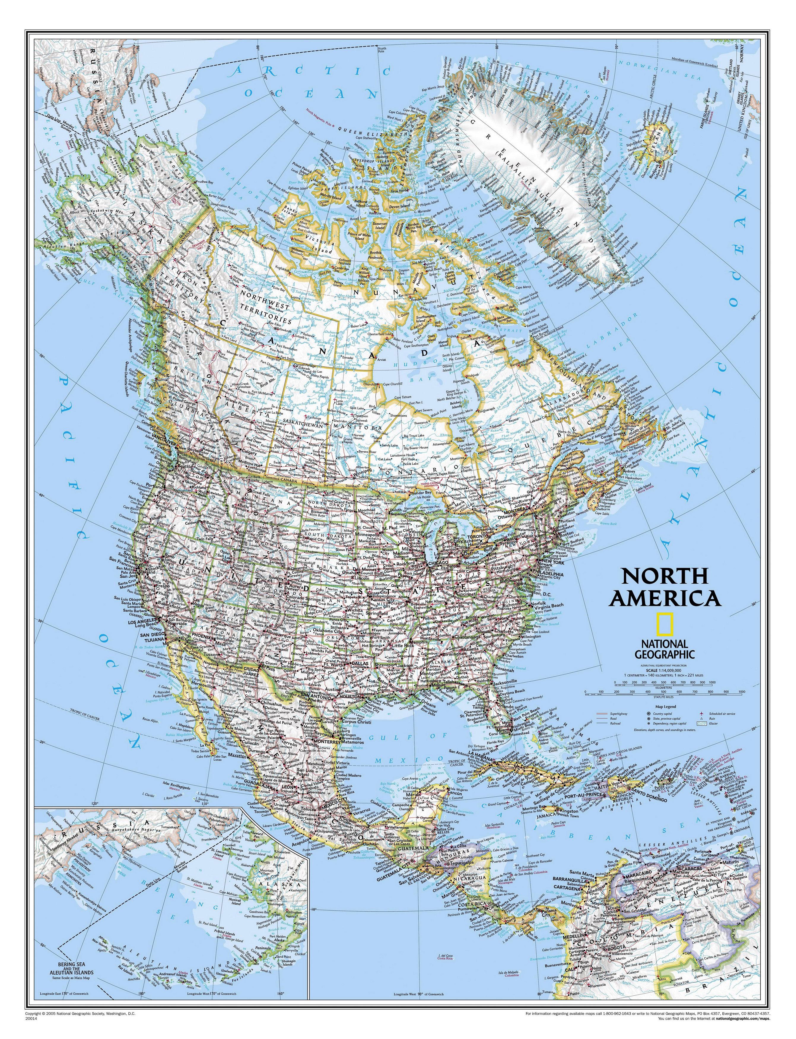 Карта стран северной америки