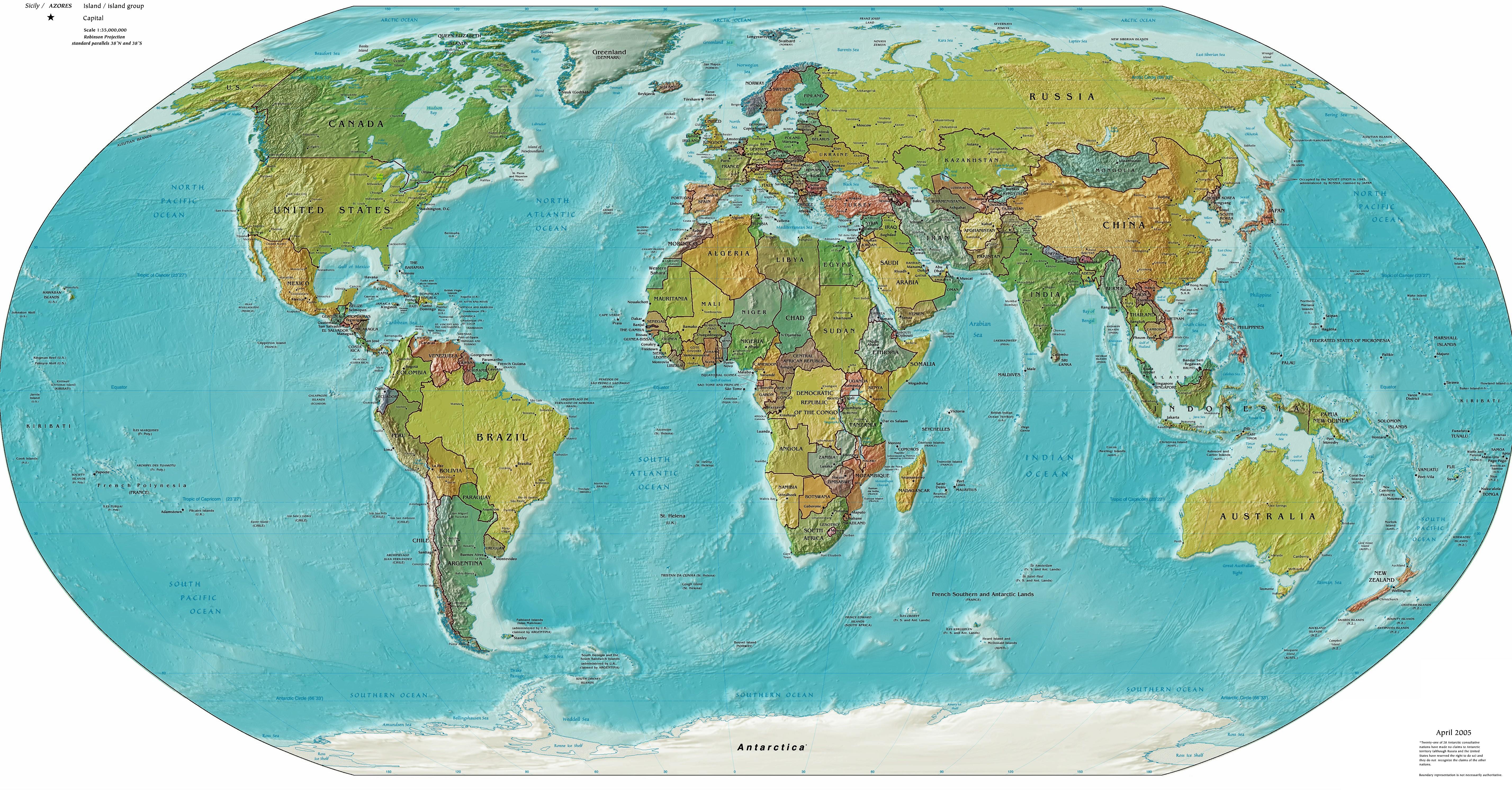 Страны на физической карте мира