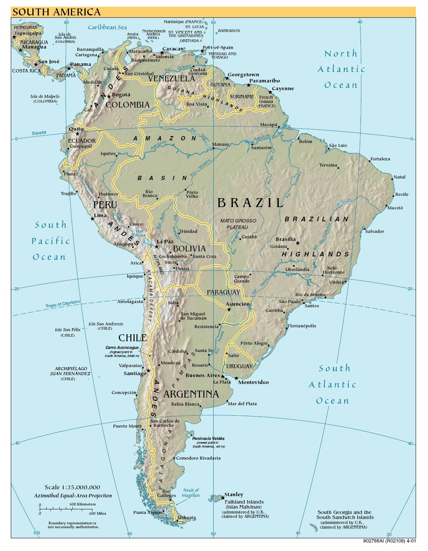 Географическая карта южной америки