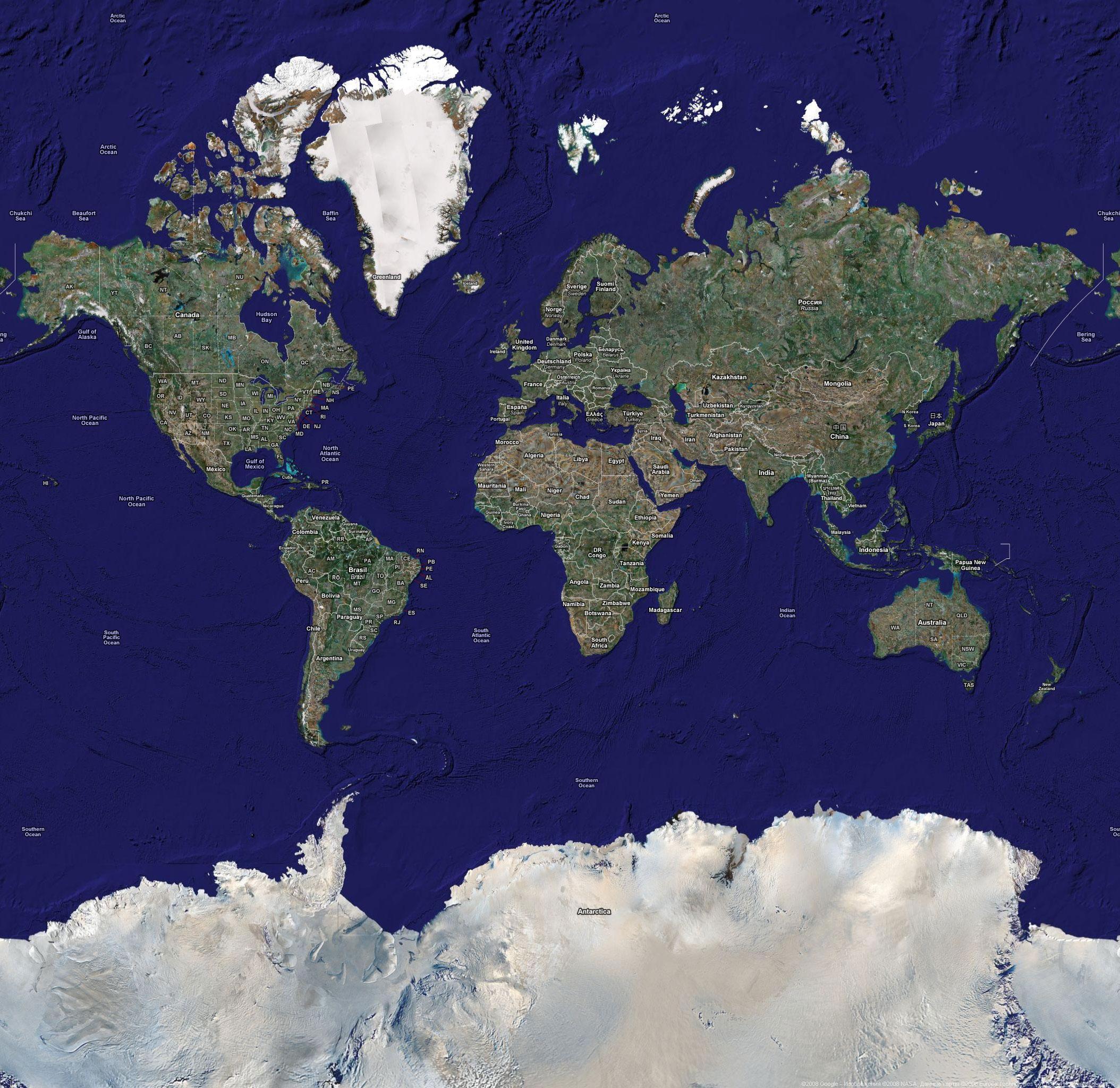 Спутниковая карта мира — Planetolog.ru