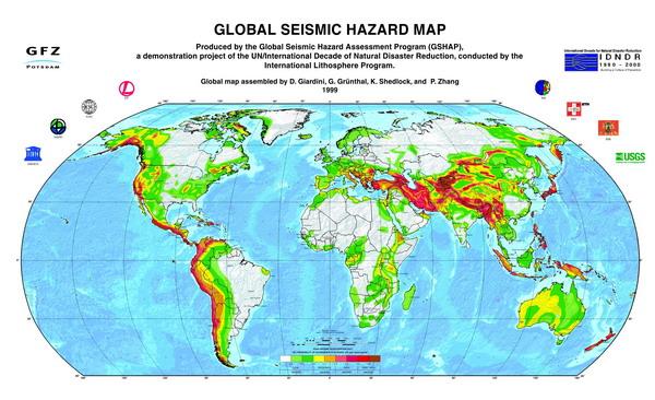 Карта зон сейсмической опасности мира