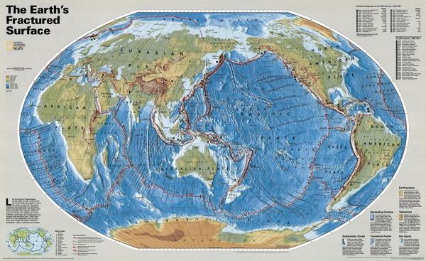 Карта тектонических разломов земли